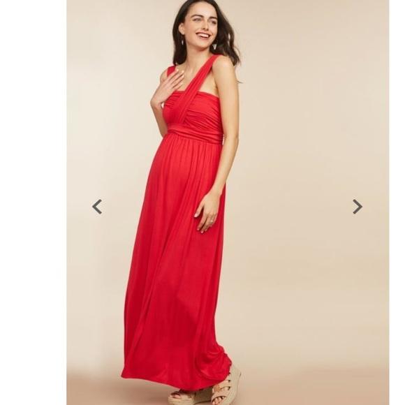 722902d43d4dc Motherhood Maternity Dresses | Cross Front Red Maxi Dress | Poshmark